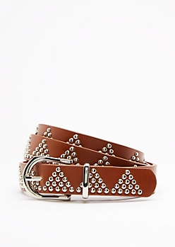 Geo Studded Slim Belt