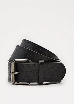 Black Aztec Embossed Belt