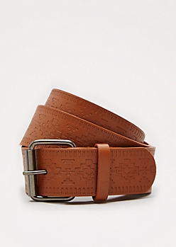 Cognac Aztec Embossed Belt