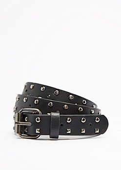Mixed Stud Slim Belt