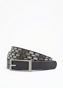 Black Geo Studded Skinny Belt