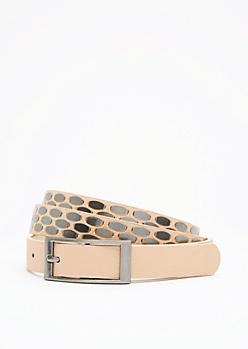 Nude Geo Studded Skinny Belt