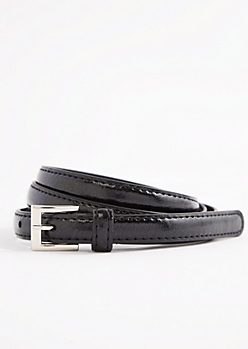 Black Shiny Vegan Leather Thin Belt