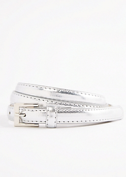 Silver Shiny Vegan Leather Thin Belt