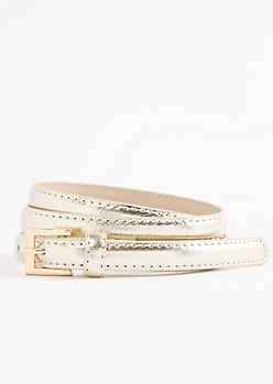 Gold Shiny Vegan Leather Thin Belt