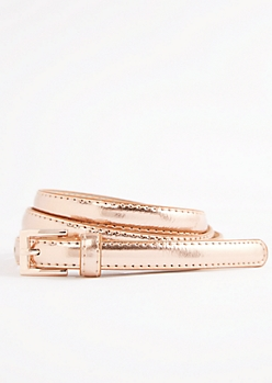 Rose Gold Shiny Vegan Leather Thin Belt