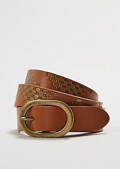 Cognac Triangle Studded Belt