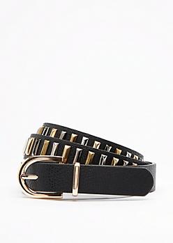 Black Mix Metal Studded Belt