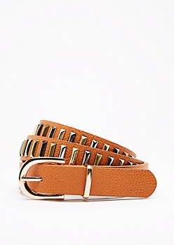 Cognac Mix Metal Studded Belt