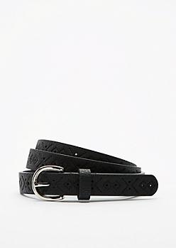Black Tribal Embossed Skinny Belt