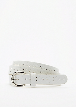 White Tribal Embossed Skinny Belt