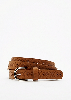 Cognac Tribal Embossed Skinny Belt