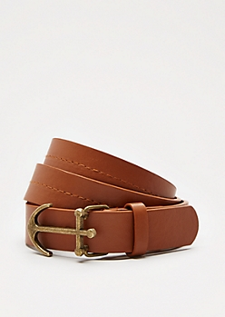 Brown Anchor Buckle Belt