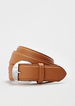 Cognac Mod Buckle Crosshatch Belt