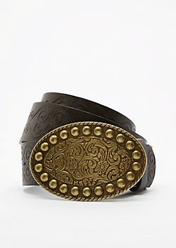 Desert Flower Embossed Belt