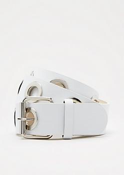 White Large Grommet Belt