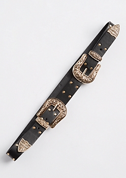 Gold Studded Double Buckle Belt