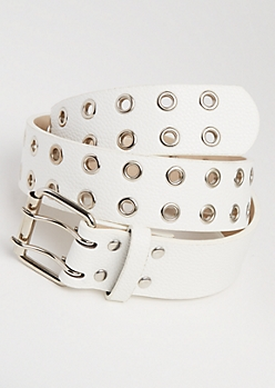 White Double Grommet Belt