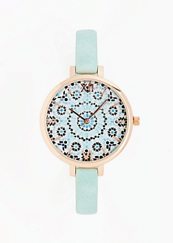 Light Blue Mandala Watch
