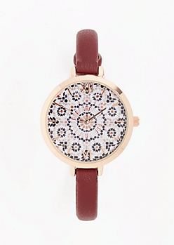Burgundy Mandala Watch