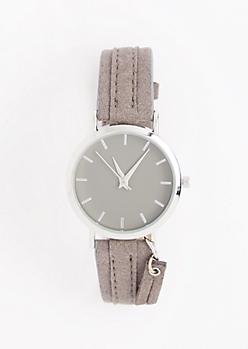 Gray Mock Suede Tassel Watch
