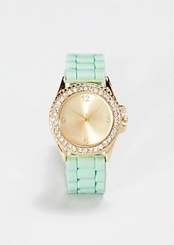 Light Green Shimmering Rhinestone Watch