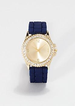 Navy Shimmering Rhinestone Watch