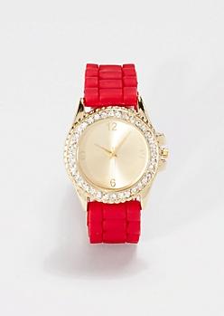 Red Shimmering Rhinestone Watch