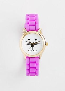 Light Purple Purr O'Clock Cat Watch