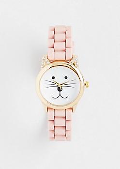 Light Pink Purr O'Clock Cat Watch