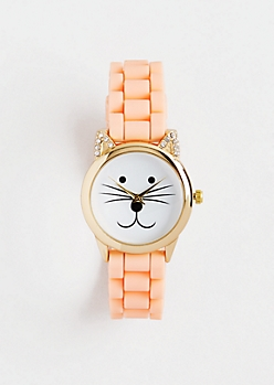 Peach Purr O'Clock Cat Watch