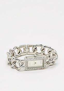 Silver Tone Twinkling Chain-Link Watch