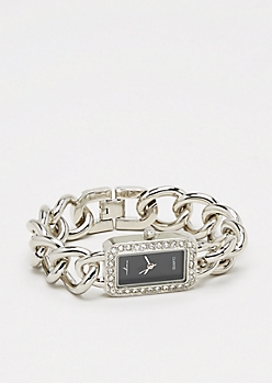 Black Dial Twinkling Chain-Link Watch