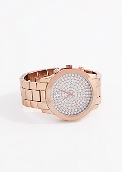 Copper Tone Glitter Dot Link Watch