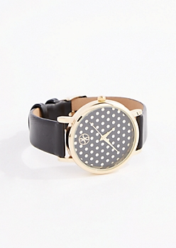 Black Perforated Dot Dial Watch