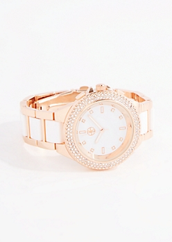 Two-Tone Pave Bezel Link Watch
