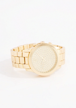 Gold Tone Glitter Dot Link Watch