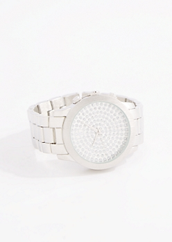 Silver Tone Glitter Dot Link Watch