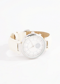 White Pave Circle Dial Watch