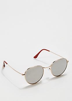 Silver Mirror Round Sunglasses