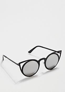 Black Mirror Lens Cat Eye Sunglasses