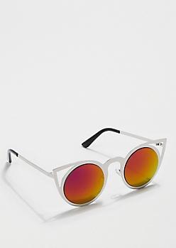 Silver Fuchsia Lens Cat Eye Sunglasses