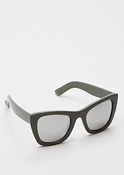 Olive Chunky Cat Eye Sunglasses