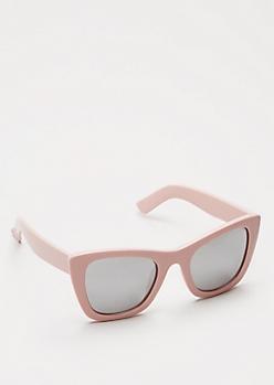 Pink Silver Lens Cat Eye Sunglasses