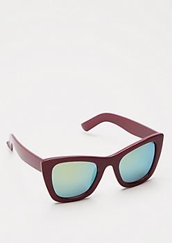 Burgundy Mirrored Cat Eye Sunglasses