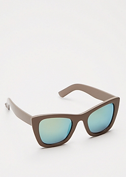 Taupe Mirrored Cat Eye Sunglasses