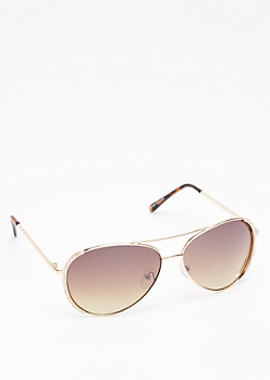 Gold Stone Embellished Aviators