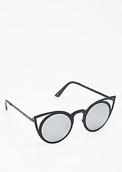 Black Silver Mirrored Cat Eye Sunglasses