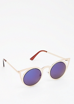 Golden Blue Mirrored Cat Eye Sunglasses