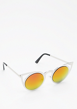 Silver Fuchsia Mirrored Cat Eye Sunglasses